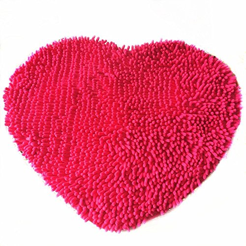 (Ustide Colorful Lovely Heart Love Shaped Area Rugs Anti-skid Chenille Door Mat Area Carpet for Home Bedroom 50cm60cm, Hot Pink)