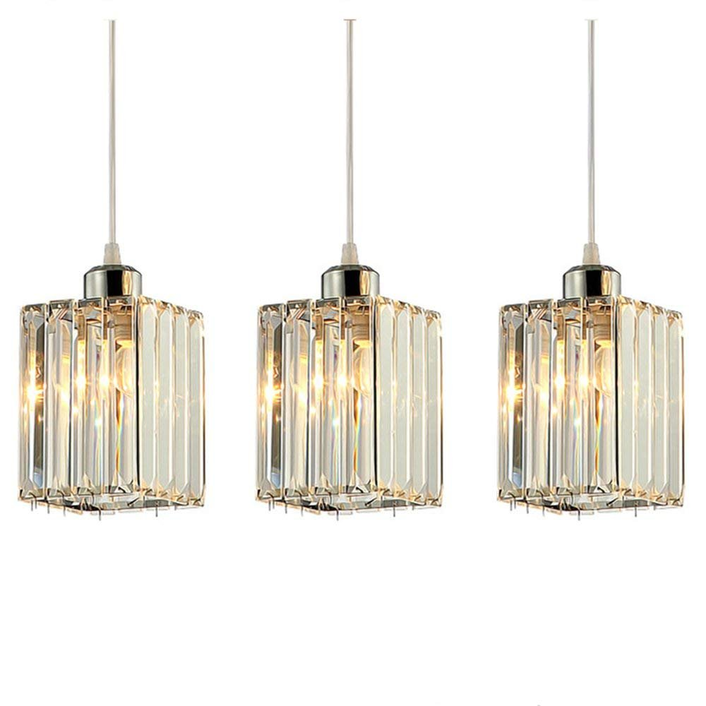 Lightess Crystal Cube Pendant Light Contemporary Luxury Hanging Ceiling Chandelier Lighting with 3 Lights