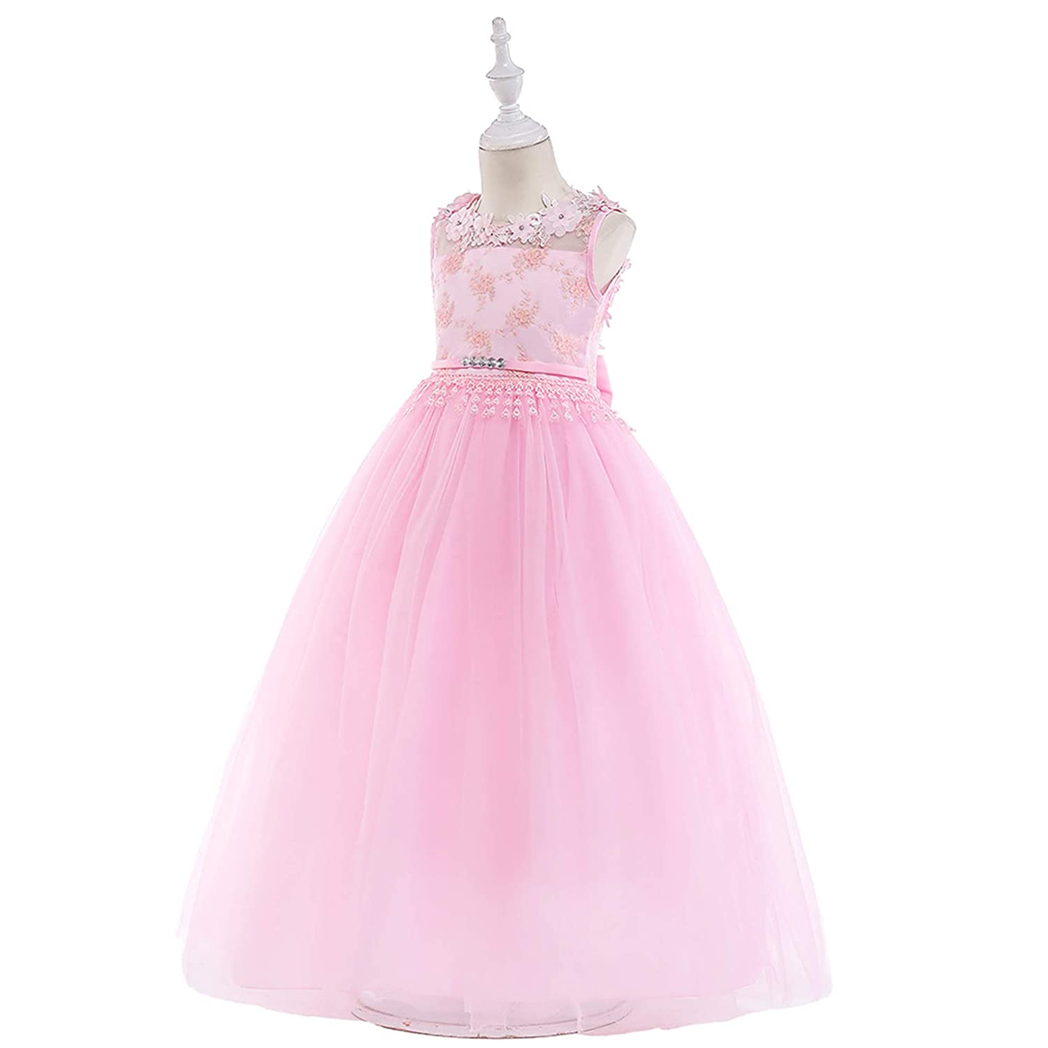 1085e08cf31 Amazon.com  NOMSOCR Kids Lace Costume Long Dress Girl Prom Ball Gown  Christmas Party Dresses (4-5 Years