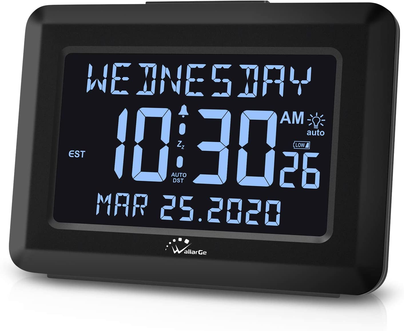 "WallarGe Digital Clock,Autoset Alarm Clock for Bedroom,USB Charger or Battery Operated,7 Brightness,6"" Large Display Desk Clock for Seniors or Alzheimer's,Auto DST,Calendar Days Alarm Clocks."