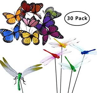 SUNSHINETEK 24 Piezas 12cm Estacas de Mariposas de jardín y 6 Piezas 9cm Libélulas Estacas Adornos de jardín en Palos para Patio al Aire Libre Patio de césped Fiesta Decoraciones (Paquete de