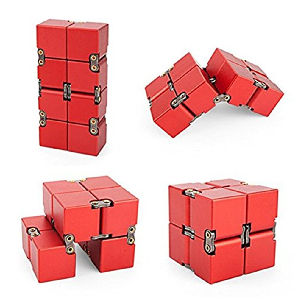 KENROLL Premium Quality Aluminum Metal Infinity Cube Fidget Handheld Sensory Toy Puzzle Box Relieve Stress Anxiety Promotes Focus, Clarity Great for Travel, Office, School (Black) Polliwoo T-cube