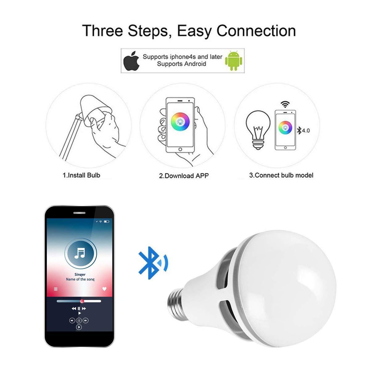 Bluetooth Bombilla Altavoz LED Lámpara -10W Luz Trabajar con iOS / AndroidApp 16 Millones de Colores Luz Blanca Natural E27: Amazon.es: Iluminación