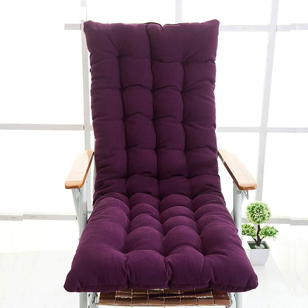 ZGYQGOO Indoor Outdoor Lounge Stuhl Kissen, Sitzauflage für Chaise, verdickt einfarbig für Gartenbank Recliner Sonnenliege Matratze (nur Kissen) -lila 48x130cm (19x51inch)
