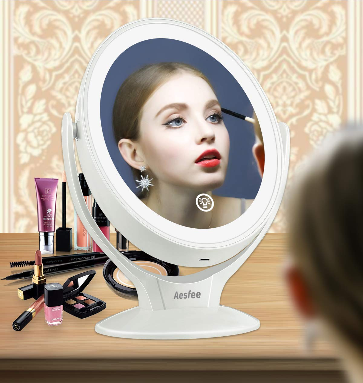 Aesfee Miroir Grossissant 7X de Maquillage avec Lumi/ères LED Miroir /éclair/é de Voyage Double Face Blanc Miroir Maquillage Lumineux LED Rotatif /à 360 degr/és