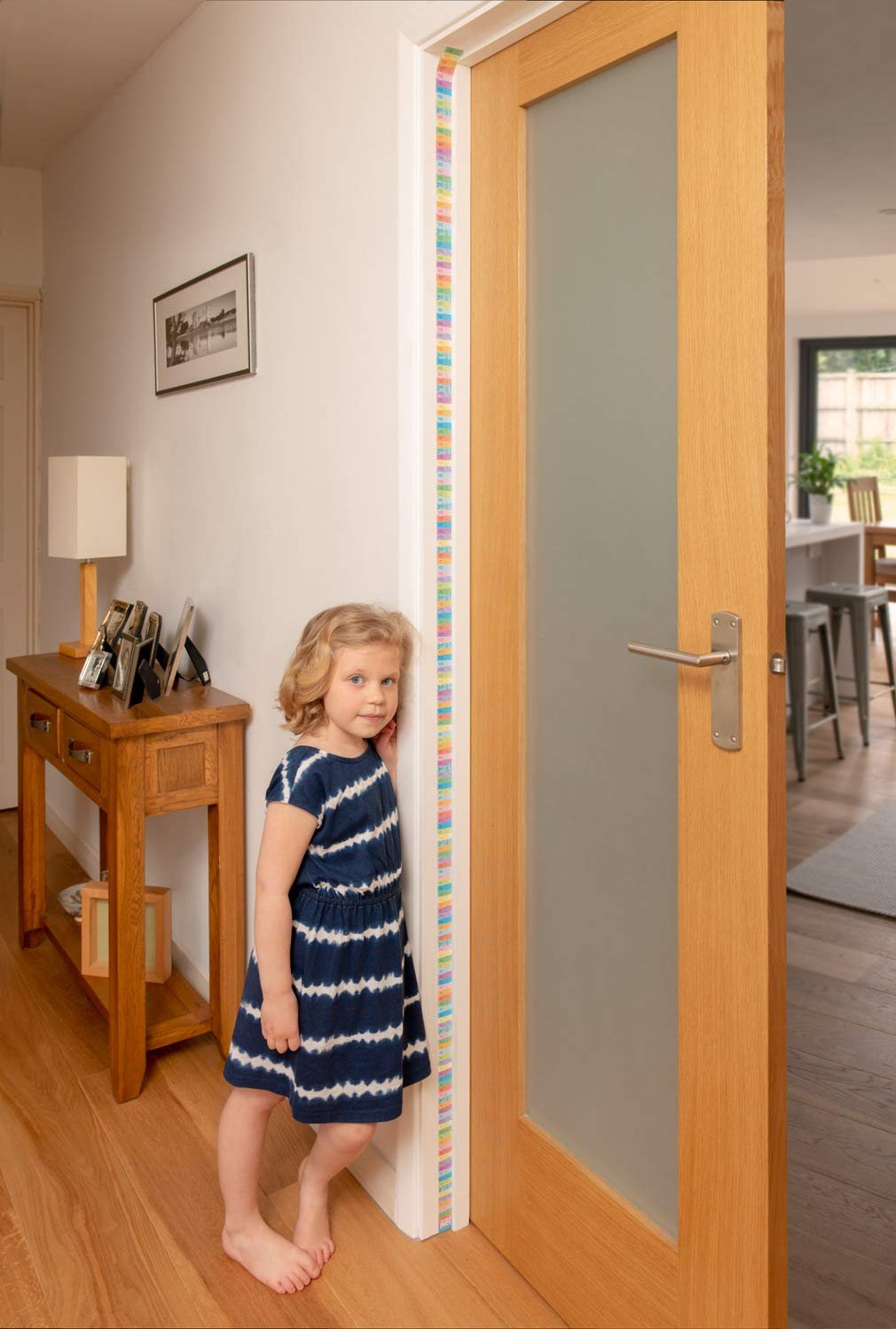 Little Wigwam Measure Me Pastel Rows Baby Roll-up Door Frame Growth Height Chart for Children Kids Room