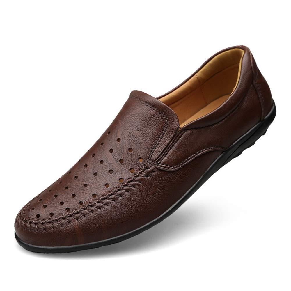 Zgsjbmh Weich Mokassin und leicht, Einzigartiges Design Mokassin Weich Gommino Männer aushöhlen Breathable beiläufige Treibende Schuhe aus Echtem Leder Schuhe (Größe: 23.5cm 28.0cm) Braun Mokassin Gommino c9ee2e