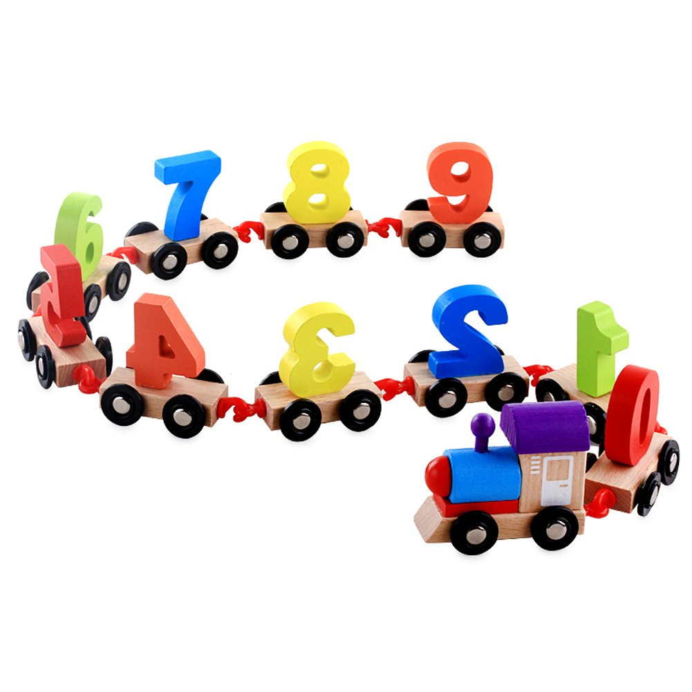 DOUYYE Wooden Toddlers Educational Toys,Geometric Shapes Stacking Train Peg Puzzles Games(Number 0-9)