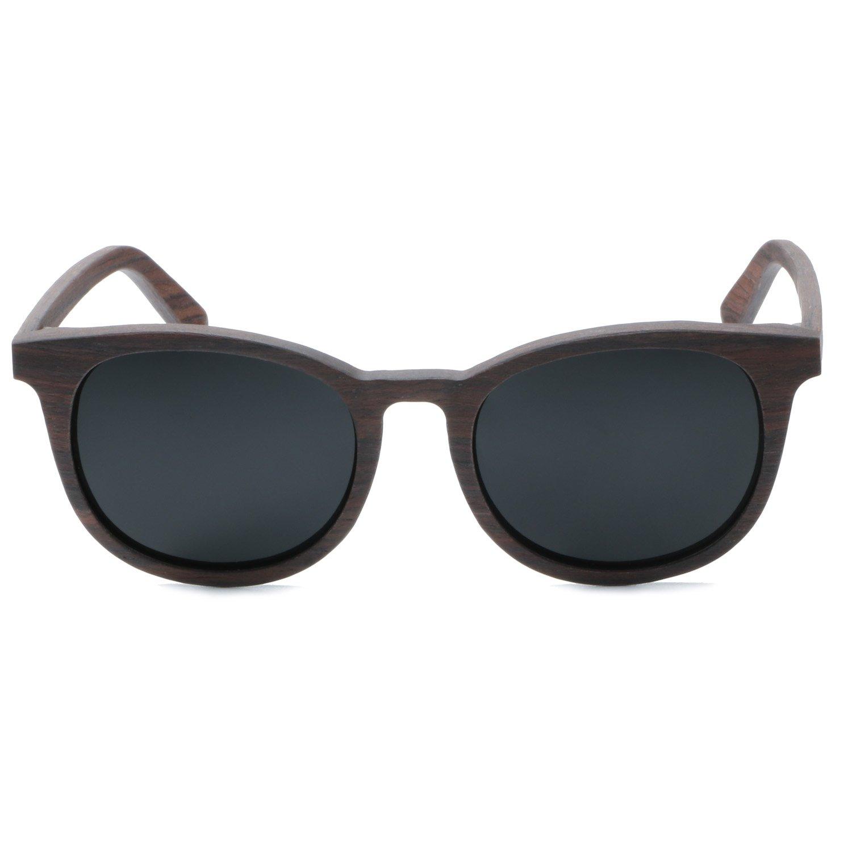 Ablibi Women Men Wood Bamboo Sunglasses Vintage Luxury Brand Designer Polarized Sun Glasses (walnut, black)