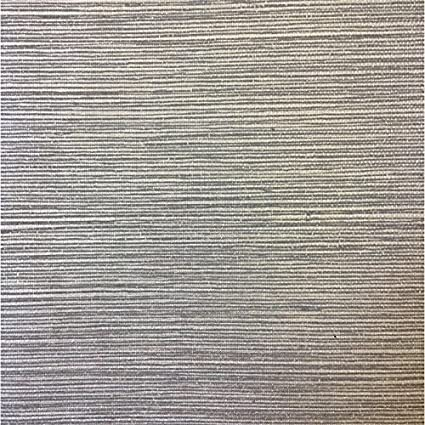 Wallpaper Textured Vinyl Faux Metallic Silver Gloss Sisal