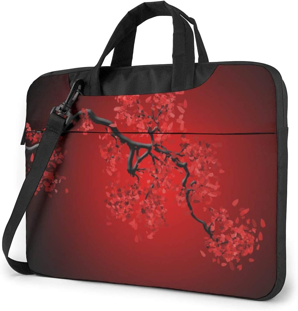 Cherry Blossom PatternLaptop Case Canvas Pattern Briefcase Sleeve Laptop Shoulder Messenger Bag Case Sleeve for 13.4-14.5 inch Apple Laptop Briefcase