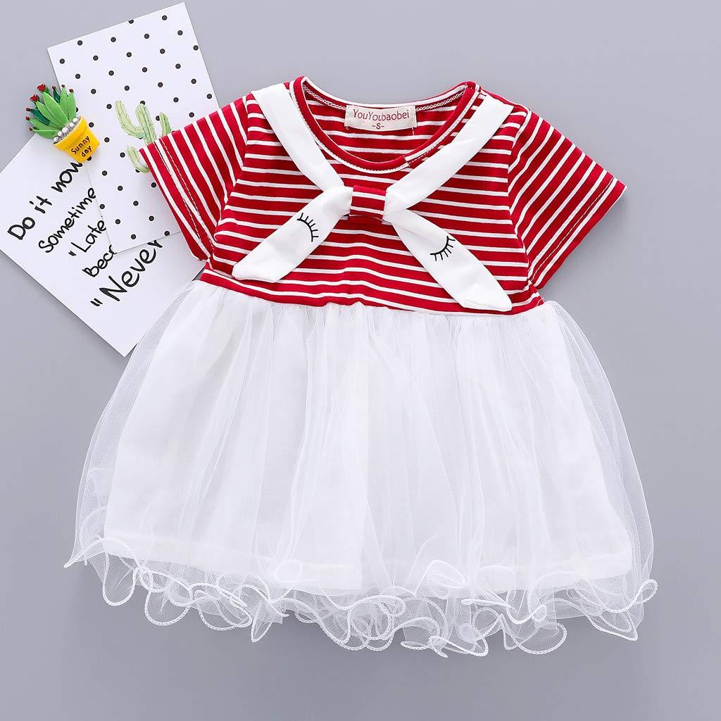 6M-24M Toddler Dress Kid Baby Girl Short Sleeve Striped Printed Lace Princess Tutu Dress Clothing