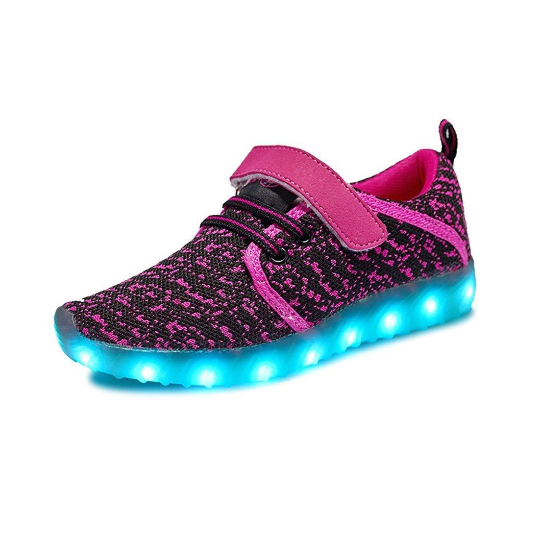 Kids LED Shoes 7-Color-Lights USB Charging Light up Sneakers For Boys Girls(Black-pink 11.5 M US Little Kid)