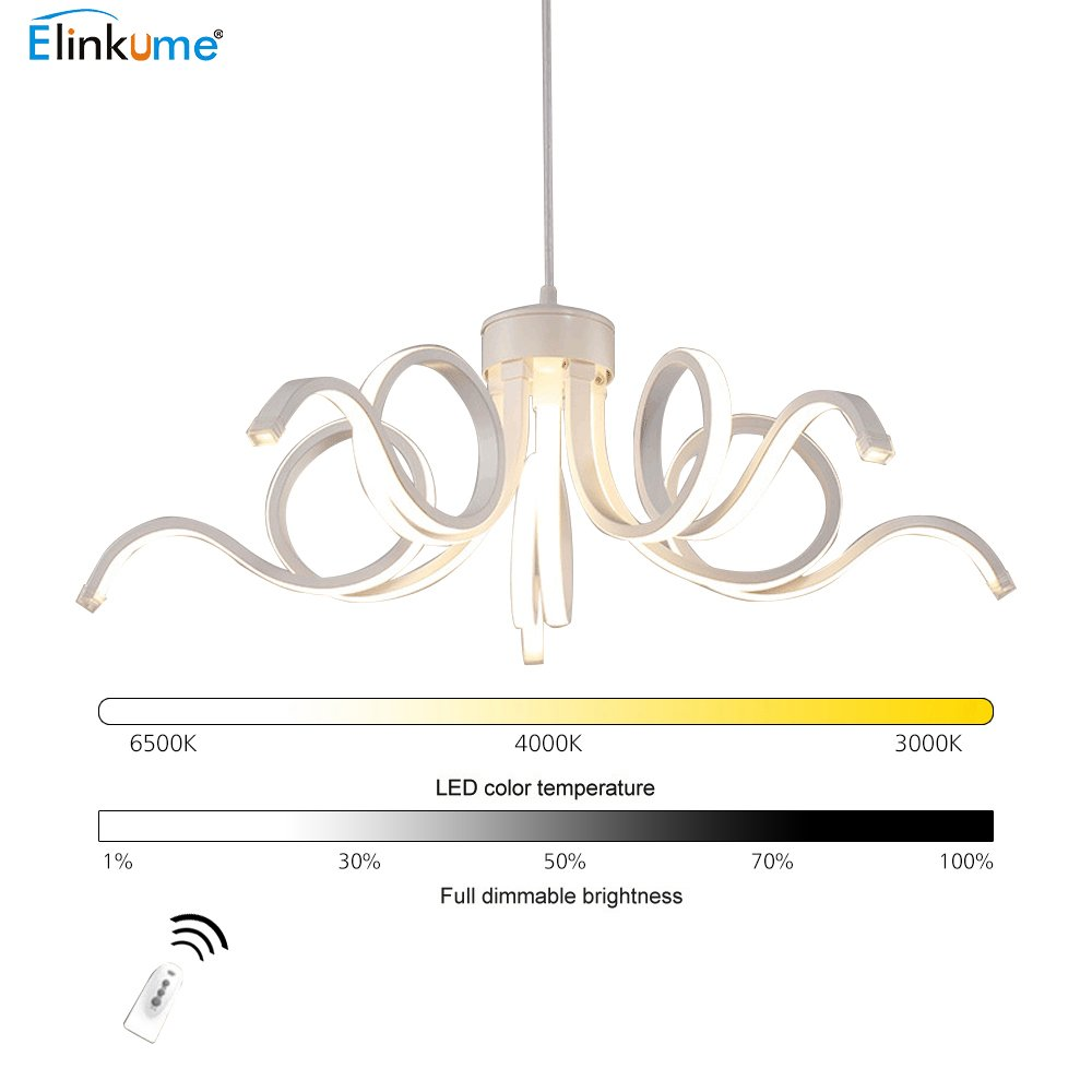 Ceiling Pendant Light Dimmable Acrylic Chandelier 36W with Remote. [Energy Class A+] ELINKUME