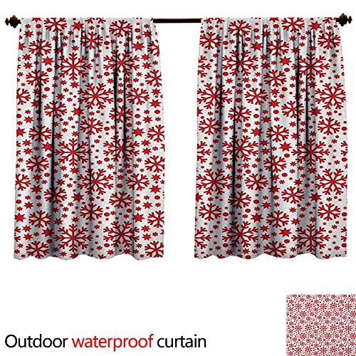 Price comparison product image SnowflakeAnti-waterStars Seven Pointed Stars and Dots Pattern Abstract Motifs New Year Illustration W63 x L72(160cm x 183cm) Sun Block Outdoor Curtain Red White