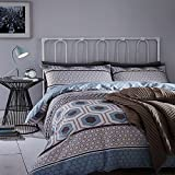 Catherine Lansfield Home Retro Bands Reversible Duvet Cover Set, Teal, Double