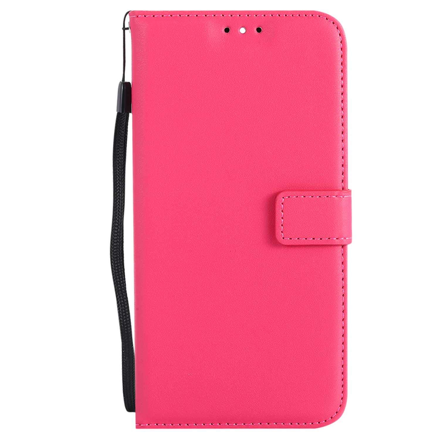 UNEXTATI Huawei Mate 10 Lite Case, Leather Magnetic Closure Flip Wallet Case with Card Slot and Wrist Strap, Slim Full Body Protective Case (Hot Pink #2)