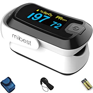MIBEST Black Dual Color OLED Finger Pulse Oximeter - Blood Oxygen Saturation Monitor with Color OLED Screen Display and Included Batteries - O2 Saturation Monitor