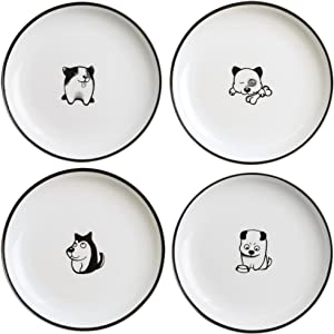 SOCOSY Cute Cartoon Dog Ceramic Seasoning Dishes Sauce Dish Sushi Dipping Bowl Appetizer Plates Tea Bag Holder Serving Dish for Kitchen 5'' (Dog)