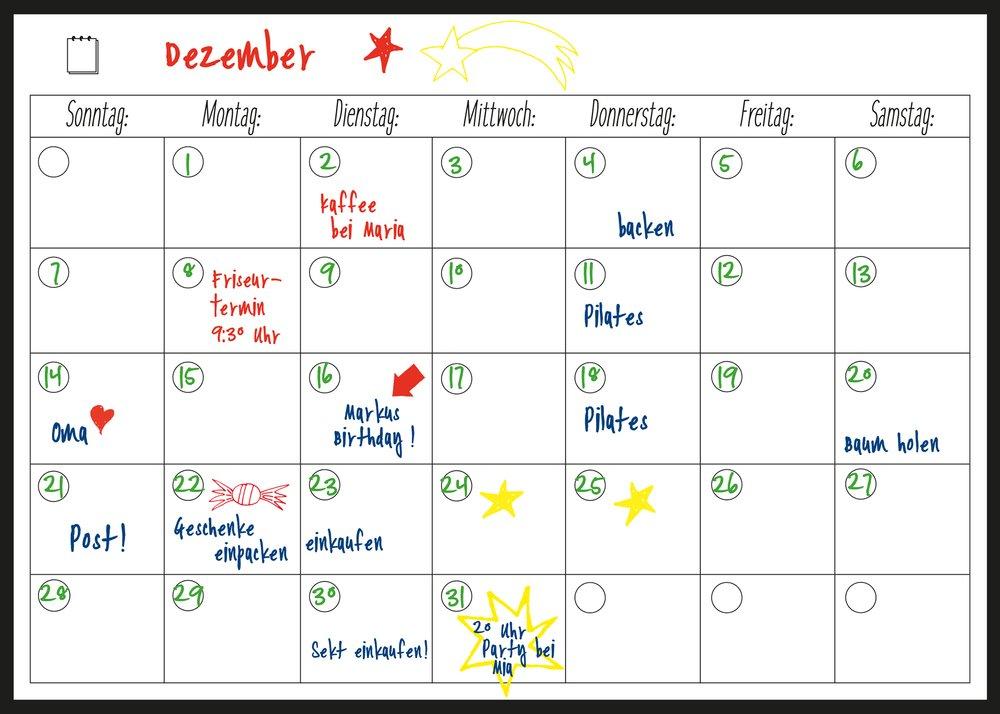con forte magnete facile da scrivere e pulire a secco calamitato Planner 40/x 30/cm con 4/perni magnetisches flessibile lavagna bianca e frigorifero del calendario/ /per mese planungen