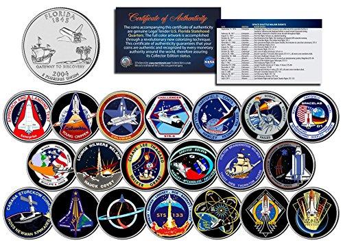 SPACE SHUTTLE PROGRAM MAJOR EVENTS Colorized FL Quarters U.S. 20-Coin Set ()
