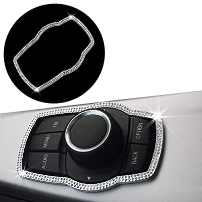 Thor-Ind Bling Crystal Diamond Car Interior Center Console Multimedia Buttons Decor Frame Cover Trim for BMW 1 3 4 5 7 Series X1 X3 X4 X5 X6 2013-2014 E38 E70 E71 E81 E84 E87 F01 F07 F10 F11 (Silver): Automotive