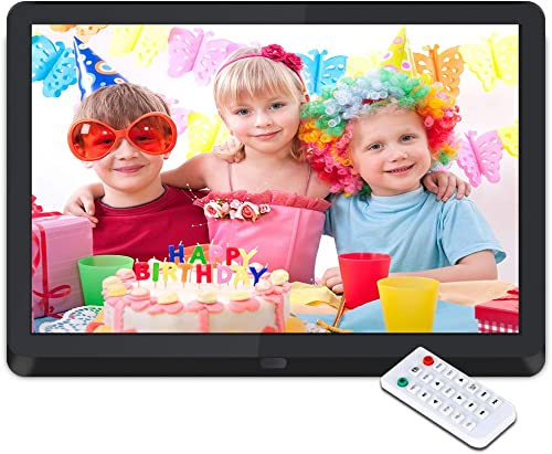 Digital Picture Frame 10 Inch Digital Photo Frame HD 1920X1080P with Remote Control 16 9 IPS Display Electronic Auto Slideshow Zoom Image Stereo Video Music Player Support USB SD Card 180 View Angle