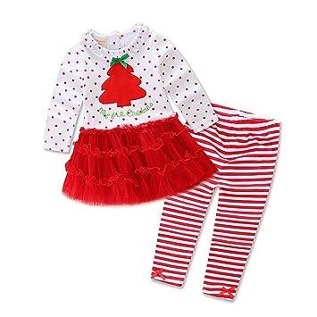 DYMAS Navidad Disfraces niños Navidad Vestido de Las niñas para bebés Vestidos del árbol de Navidad Set de Piezas: Amazon.es: Jardín