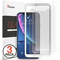 "Trianium (3 Packs) Screen Protector Designed for Apple iPhone XR (6.1"" 2018) Premium HD Clarity 0.25mm Tempered Glass Screen Protector with Easy Installation Alignment Case Frame [3D Touch] (3-Pack)"