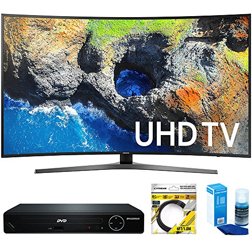 Samsung Curved 65 4K Ultra HD Smart LED TV 2017 Model (UN65MU7500FXZA) with Sylvania HDMI HD DVD Player, 6ft High Speed HDMI Cable Black & Universal Screen Cleaner for LED TVs Large Bottle