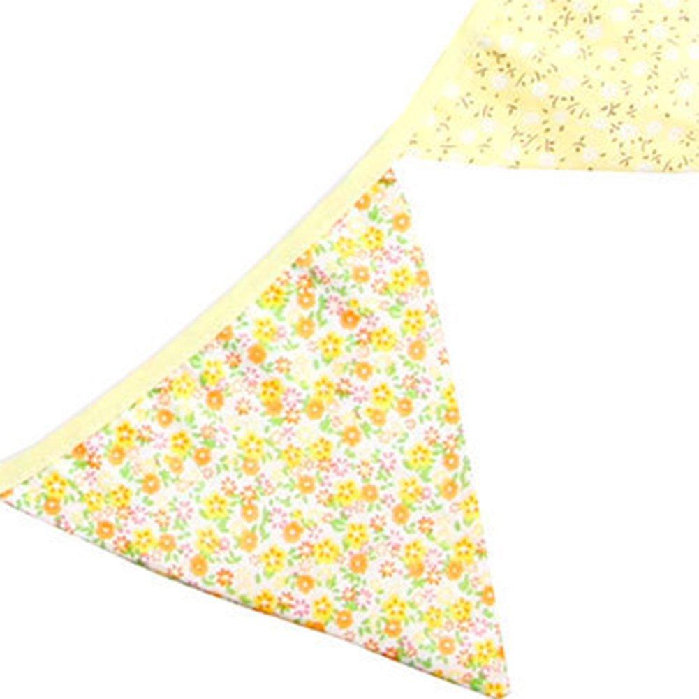 LAMEIDA Guirlande Fanions en Tissu de Coton pour la F/ête de Mariage D/écorations dAnniversaire et les Partis Banni/ère Triangulaire D/écorer la Maison 12 Drapeaux//Pcs la Longueur est Denviron 2.8 M/ètres