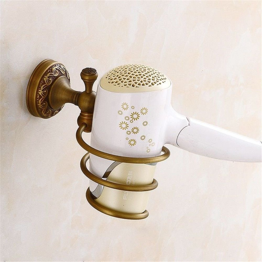 Vintage brass    wall-mounted bathroom, antique hair dryer rack