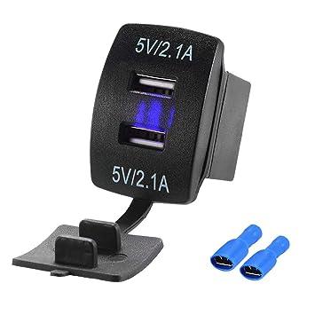 USB Cargador de Coche, 5V 2.1A Cargador de Dos Puertos USB ...