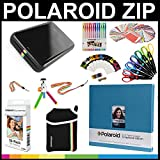 Polaroid ZIP Mobile Printer Gift Bundle + ZINK Paper (30 Sheets) + 8x8'' Cloth Scrapbook + Pouch + 6 Edged Scissors + 100 Sticker Border Frames + Color Gel Pens + Hanging Frames + Accessories
