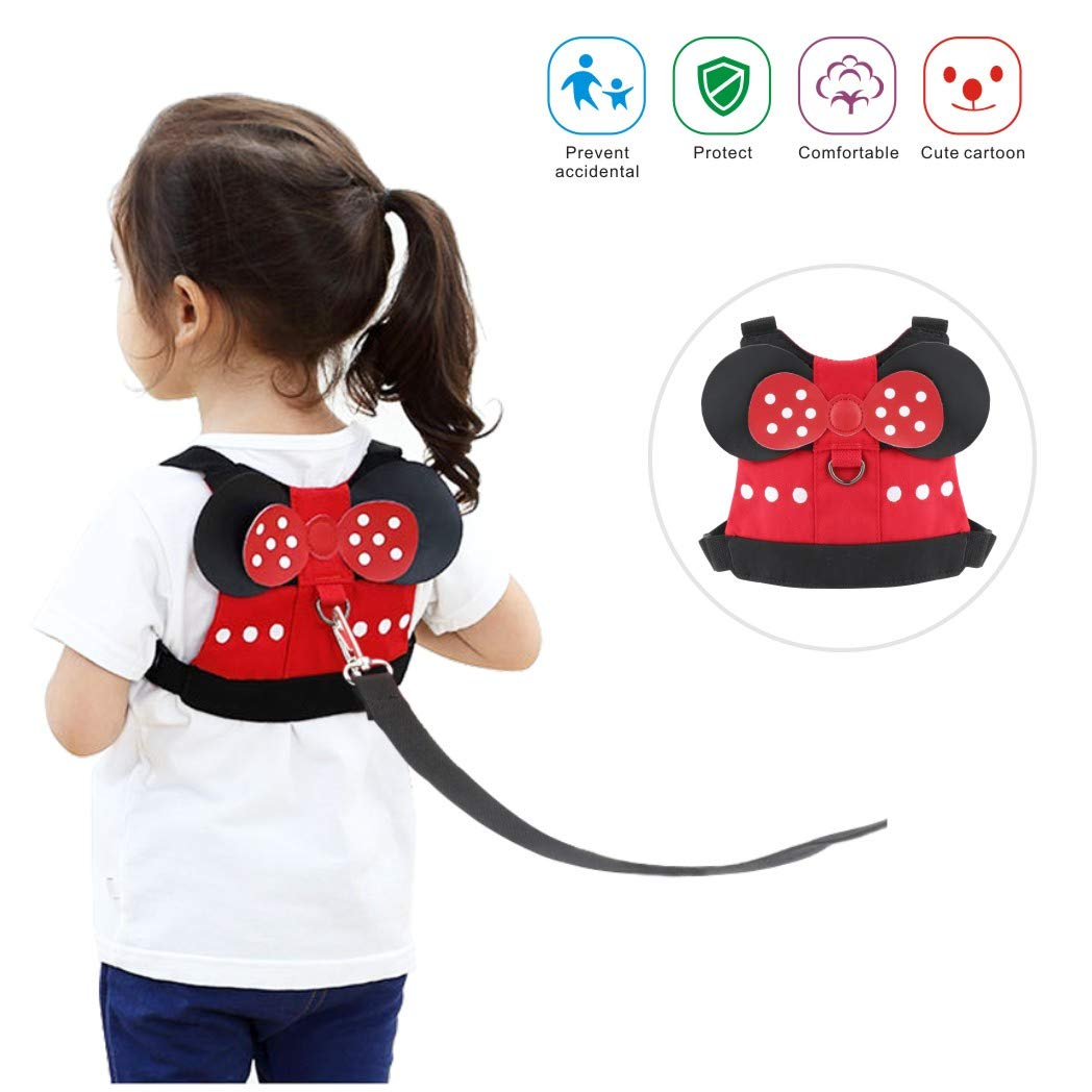 Idefair Kids Harness, Kid Leash Anti Lost Belt Harness Safety Walking Leash for Age 1-5 Years Old Boys & Girls to Disneyland, Mall or Zoo - Red Minnie