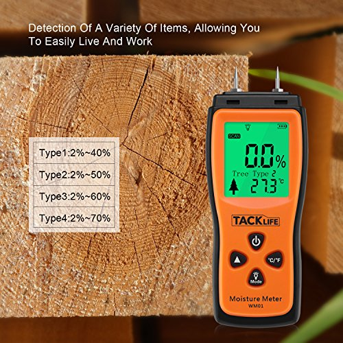 tacklife wm01 classic wood moisture meter with lcd to. Black Bedroom Furniture Sets. Home Design Ideas