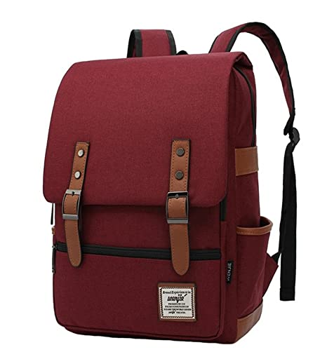 dd8170e55ddb LeaLac Unisex Casual Lightweight Children School Bag Laptop Backpack Travel  College Backpack For Women (FB01-B) Wine Red