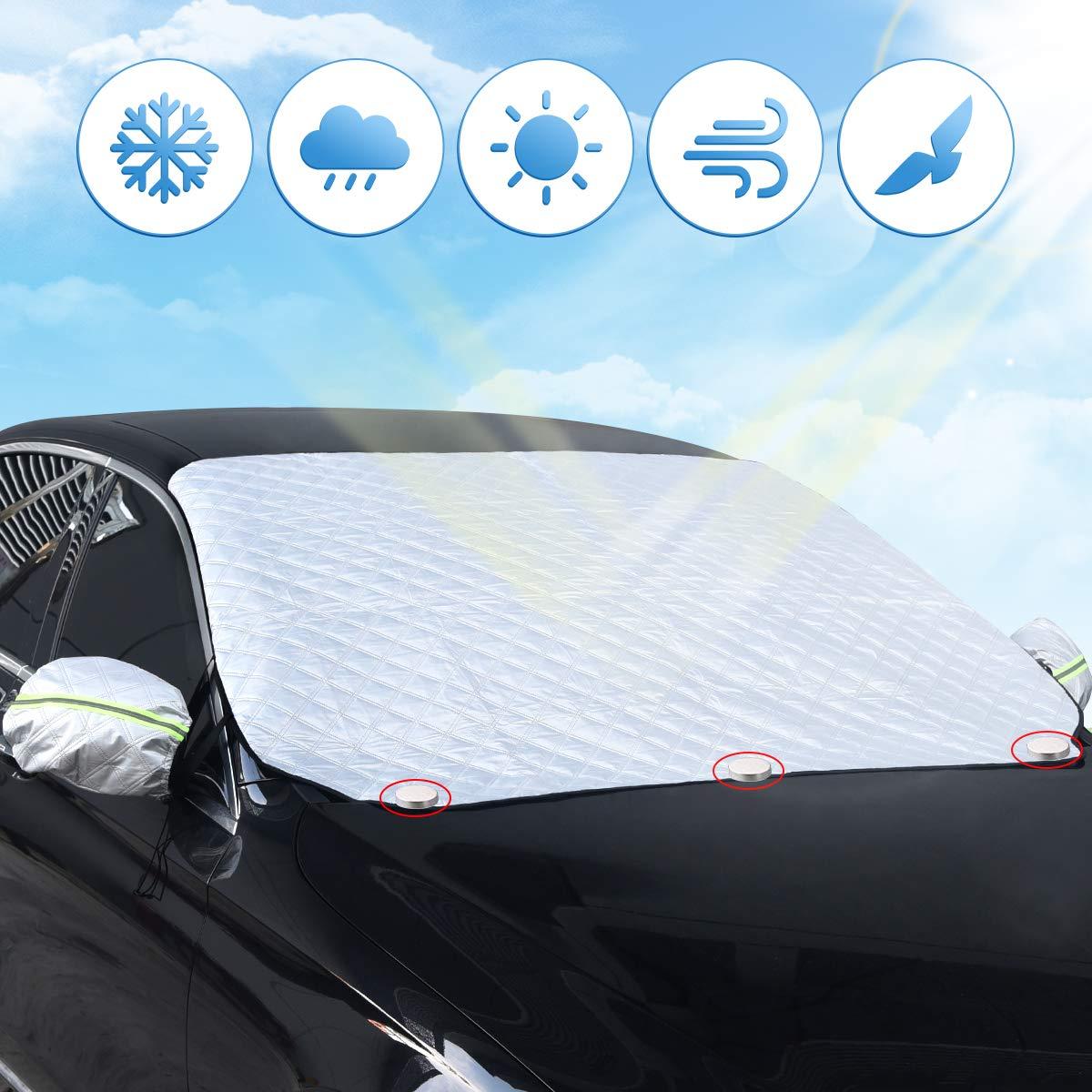 Unitify Protector Parabrisas, Protector Nieve Coche Parabrisas Ventana Delantera de la Cubierta de Nieve de Hielo Protector Parasol Invierno Tiempo