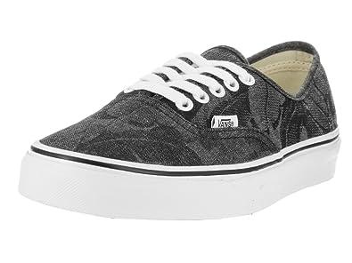 b913e5ed57b Vans Unisex Authentic (Chambray Leaves) Black Canvas Skate Shoes 5
