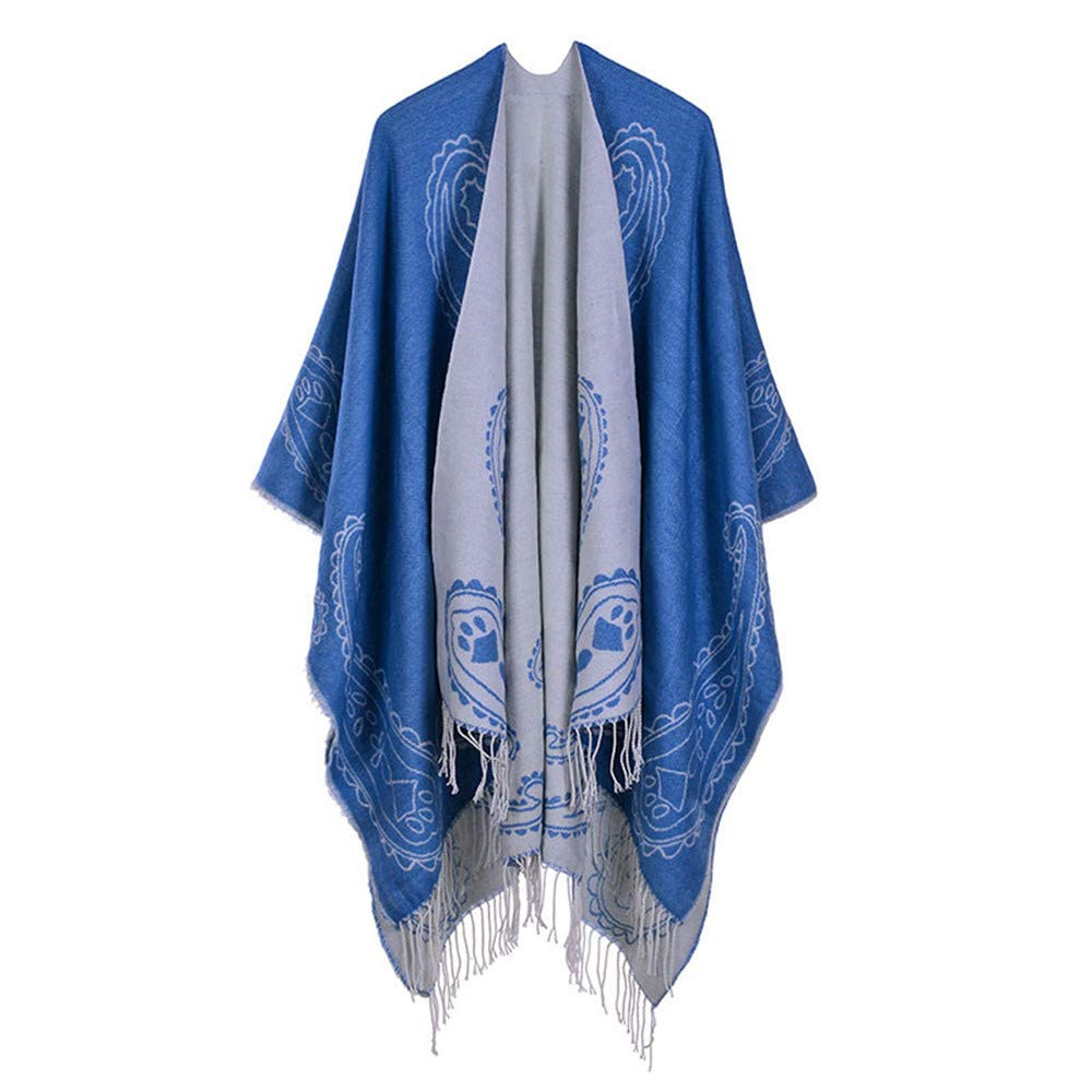 bluee Women Lady Girl Women's Printed Tassel Open Front Poncho Cape Cardigan Wrap Shawl Party Lightweight Scarf (color   Red)