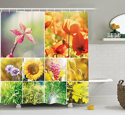 [Apartment Decor Shower Curtain Set Flourishing Spring Collage With Grapes Trees And Sunflowers Seasonal Countryside Hot Photo Bathroom Accessories] (Grape Vine Halloween Costume)