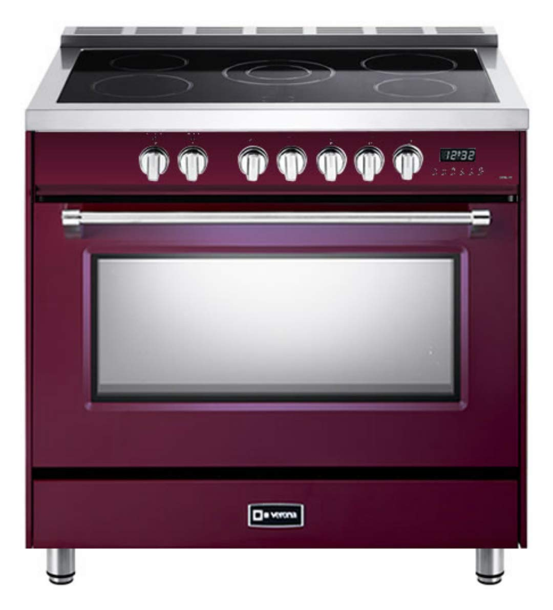 Verona Designer Series VDFSEE365BU 36 Inch 5.0 Cu. Ft Electric Range Oven 5 Burners Dual Center Element Smoothtop Black Ceramic Cooktop Convection Burgundy