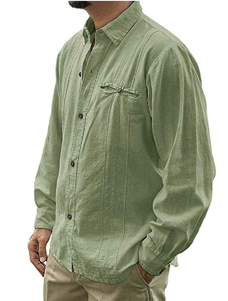 Coolred-Men Casual Loose Long-Sleeve Pure Colour Buttoned Linen Western Shirt