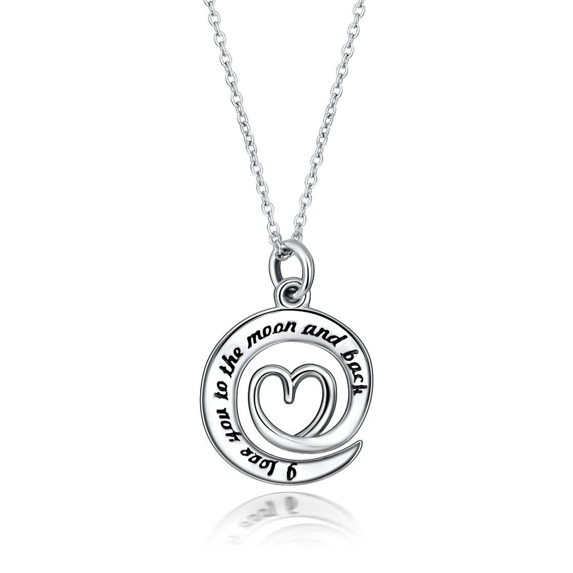 Fine Jewelry Sterling Silver ''I Love You to the Moon and Back'' Charm Pendant Necklace, 18 inches (Style 5) by SILVERLUXY