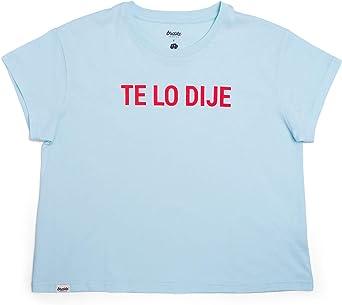 Brava Fabrics | Camiseta Mujer Manga Corta | Camiseta Azul Mujer | Camiseta Casual | Camiseta Hipster | 100% Algodón | Camiseta Te lo Dije: Amazon.es: Ropa y accesorios