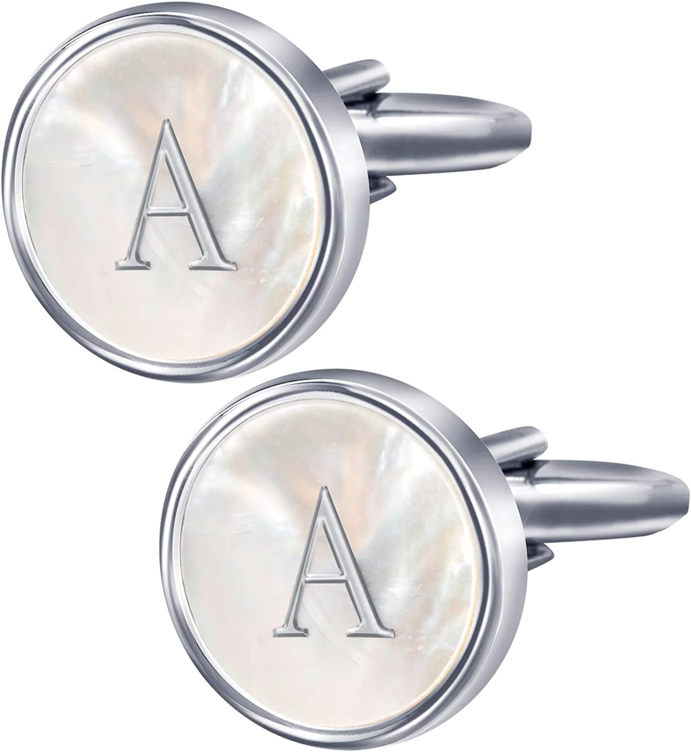 Digabi Stainless Steel Mother of Pearl Cufflinks 26 Initial Letter A-Z Business Wedding Shirts