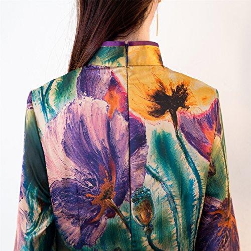 Party Lotus Soirée Avec Femme Manche Robe Qipao De Demie Deux Doublures Cheongsam Acvip UPq7Bwv