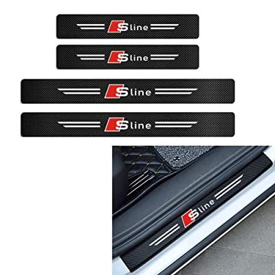 MAXDOOL 4Pcs Audi S line Door Sill Protector Reflective 4D Carbon Fiber Sticker Decoration Door Entry Guard Door Sill Scuff Plate Stickers for Audi A4 A3 Q5 Q3 S3 S4 S line Quattro RS7 (Sline): Automotive