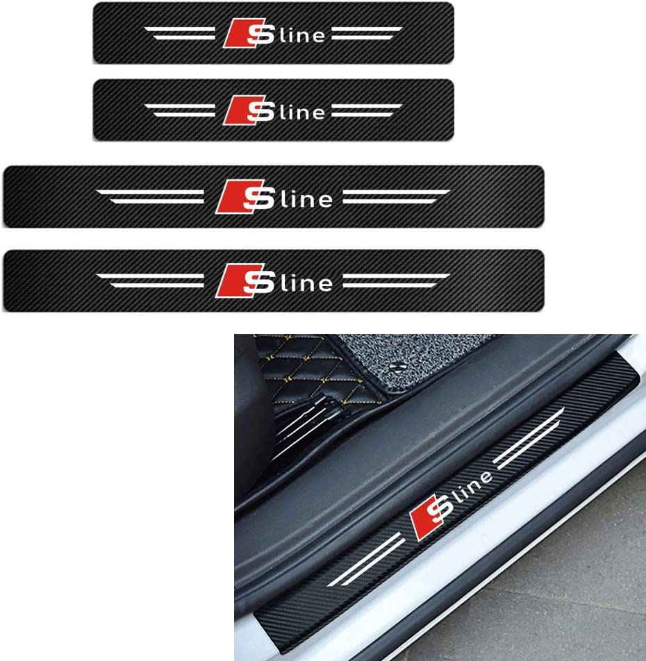 MAXDOOL 4Pcs Audi S line Door Sill Protector Reflective 4D Carbon Fiber Sticker Decoration Door Entry Guard Door Sill Scuff Plate Stickers for Audi A4 A3 Q5 Q3 S3 S4 S line Quattro RS7 A3-Red
