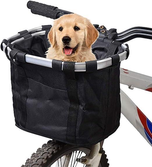 Csatai Cesta Delantera Lona Desmontable?Marco de Aluminio Cesta Delantera para Bicicleta Mascota, Cesta de Lona Frontal de Bicicleta, Bolso del Animal Doméstico de la Bici: Amazon.es: Productos para mascotas